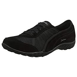 Skechers Breathe-Easy-Weekend Wishes Suede & Mesh Lace Up Trainers