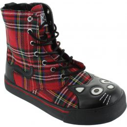 Red Tartan Kitty Combat Boots